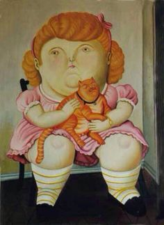 F. Botero, Girl and Cat, cat paintings