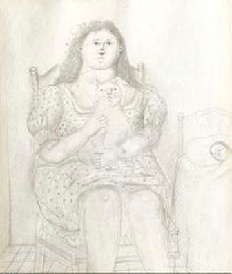 F. Botero Seated girl with cat 1971