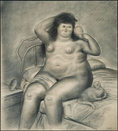 F. Botero Seated woman with cat, cat paintings, cat sketches