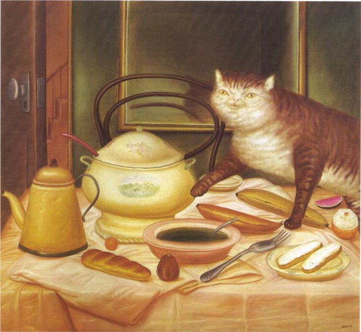 Still Life with Green soup --Fernando Botero, 1972, cats in art