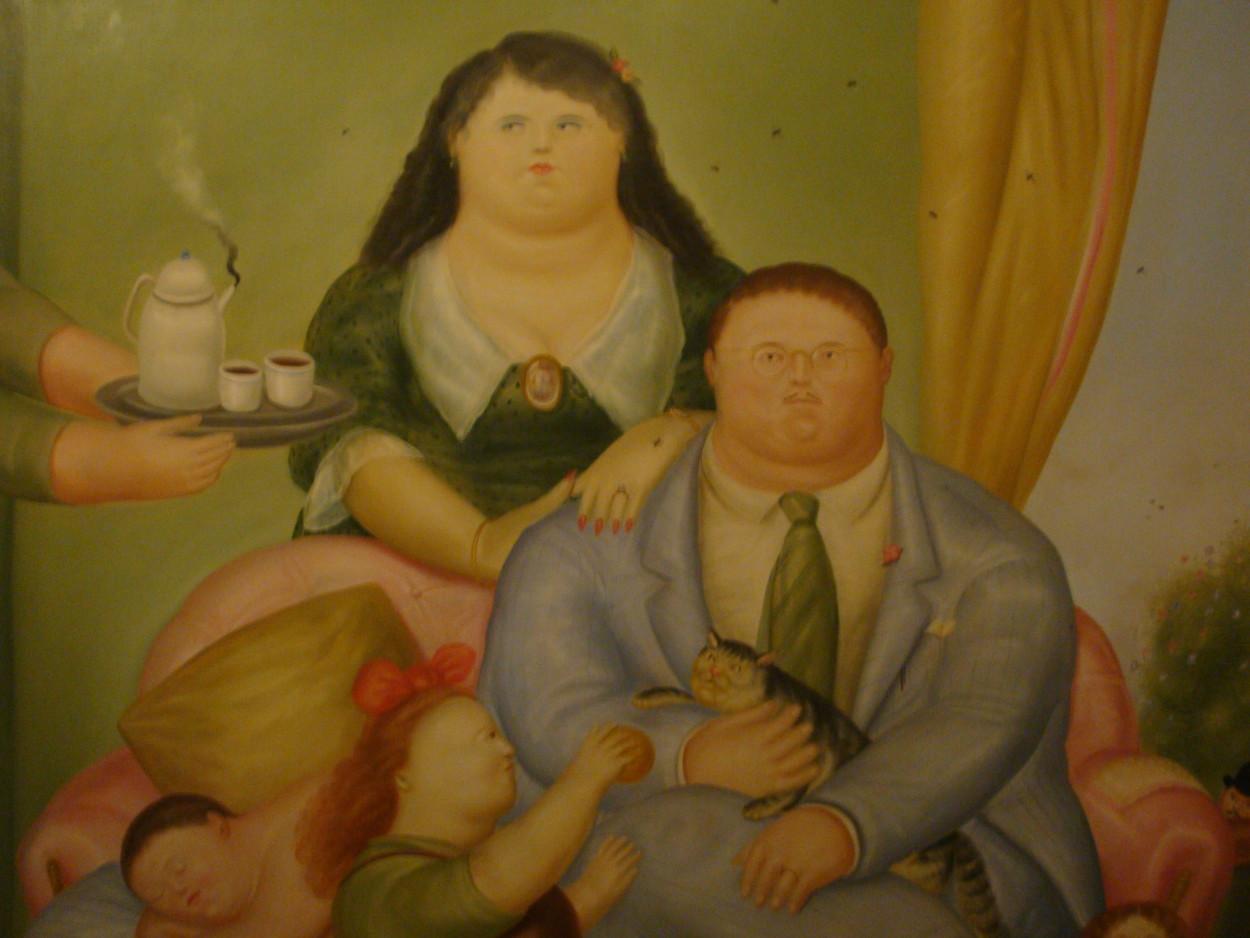 Colombian Family and cat Fernando Botero