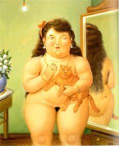 F. Botero, Woman holding a Cat, cat art