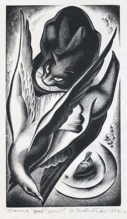 1934 Agnes Parker cats in art