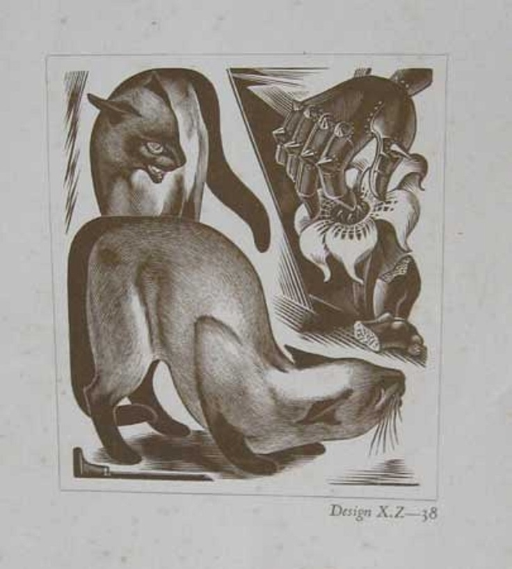 Agnes M Parker, cats in art, wood block prints
