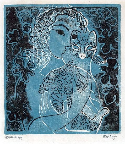 Scherzo II linocut  Eileen Mayo, cats in art