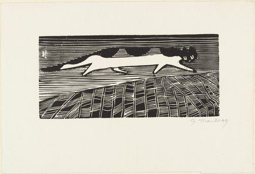 Gerhard Marcks Laufende Katze (Running Cat) 1949, cat woodblock prints