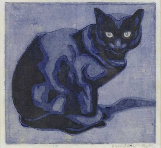 Bresslern-Roth (Austrian, 1891-1978) Cat Woodcut, c. 1925, cats in art