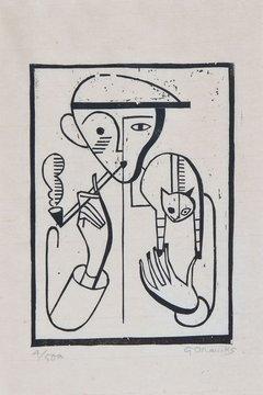 The smoker, G. Marcks, cats in art