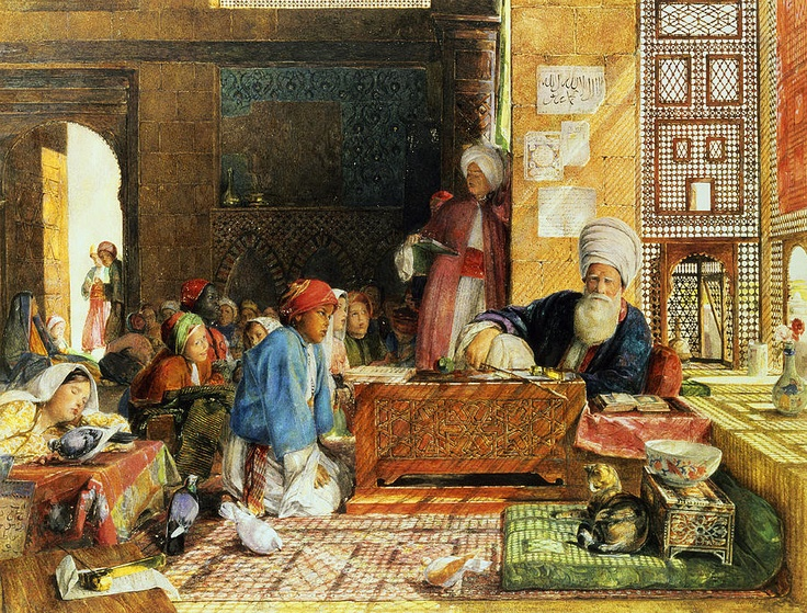 The Arab Scribe 1852 Watercolor on paper, JF Lewis, orientalist paintings, cats in art