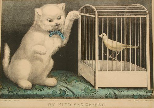 My Kitty and Canary, Currier & Ives, cats in art