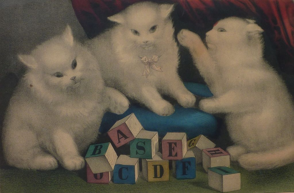 Three white kitties, cats currier and ives