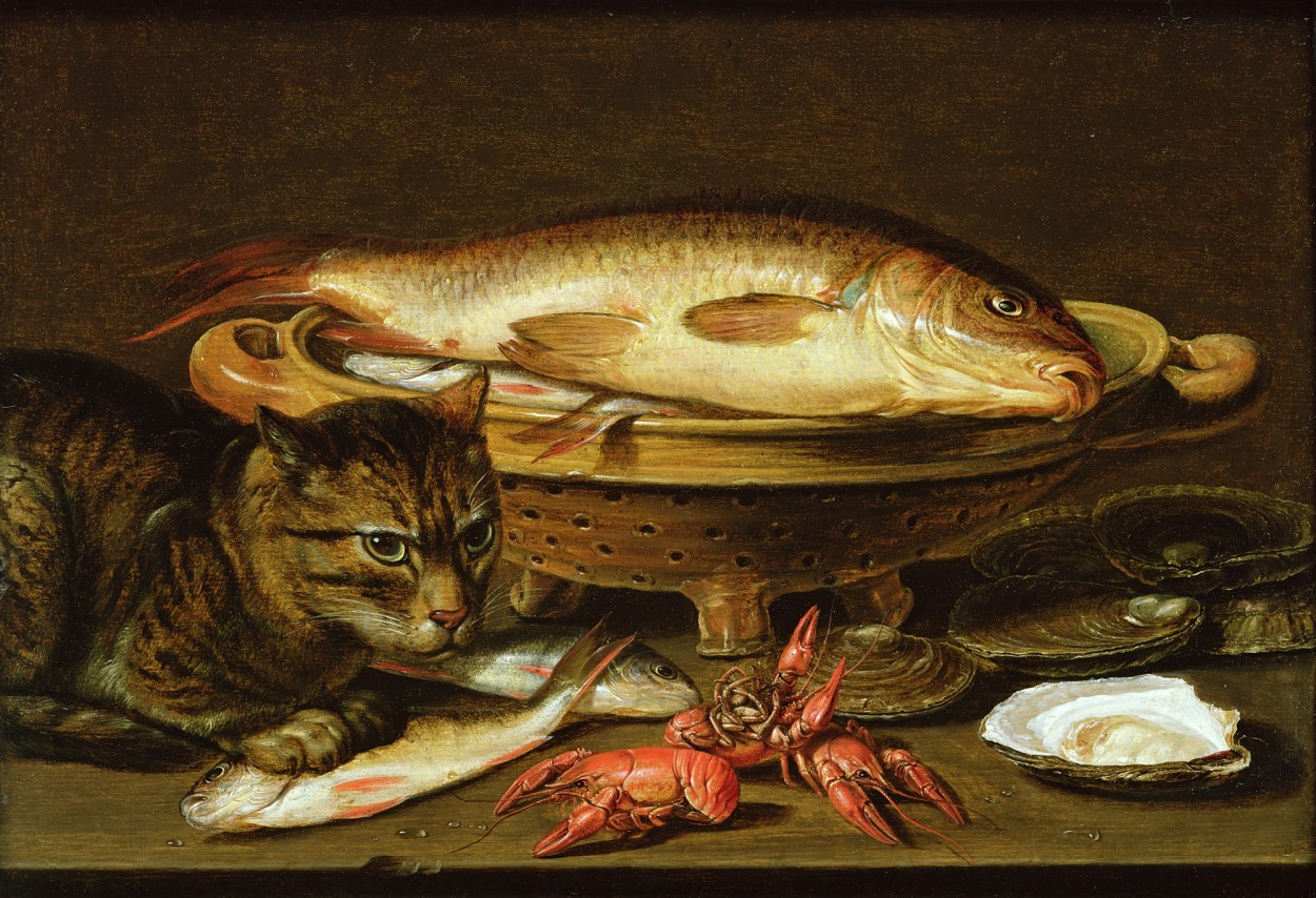A still life with Carp in a Ceramic Colander Clara Peeters