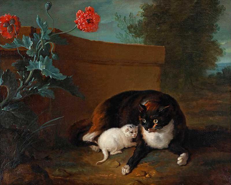 Jean Baptiste Oudry, 1737cat and kitten, cat art