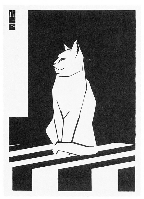 MC Escher Sketchbook Cat Woodblock Print 1919