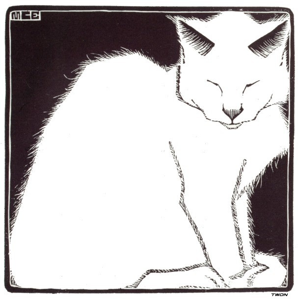 M.C. Escher, White Cat, 1919