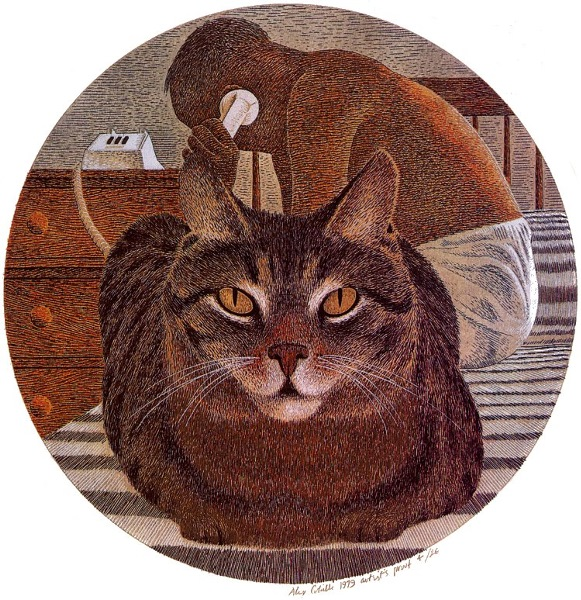 A. Colville Cat and Artist 1979