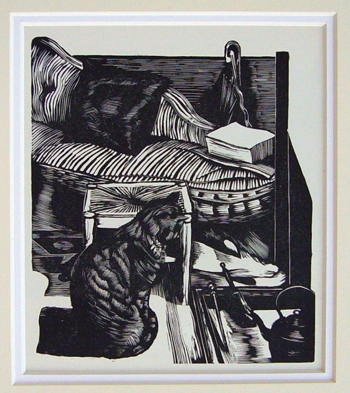 J Nash, cat, wood engraving