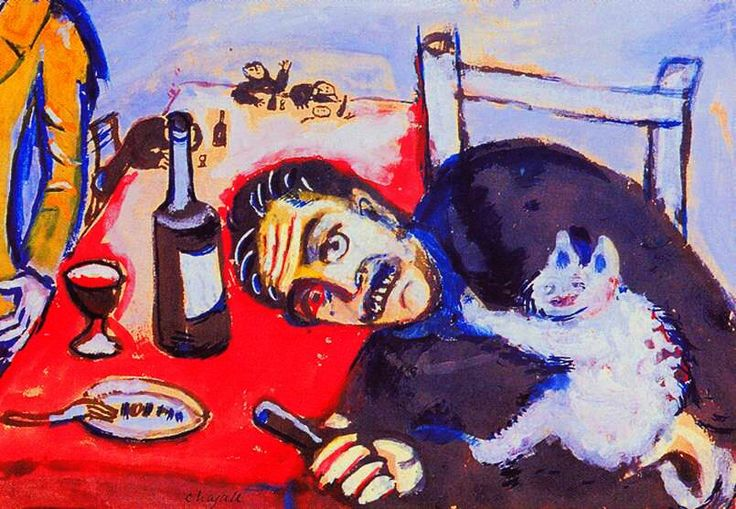 Man at table (holding a contented white cat) Marc Chagall, 1911