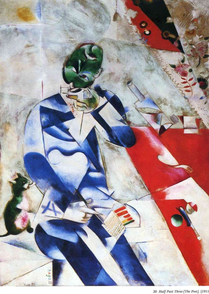 The Poet, or Half Past Three painting of man who loves the cat, 1912 Chagall