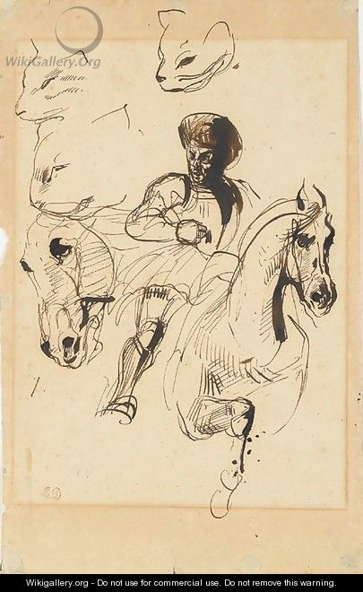 A man in armour on horseback, with studies of a horse's head and cats' heads Delacroix
