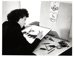 Clare Turlay Newberry at her desk drawing