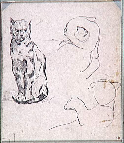 Study of a Seated Cat Etude de chat assis et deux croquis sommaires de tête de chat E. Delacroix