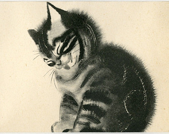 Kitten Cleaning Itself, Clare Turlay Newberry