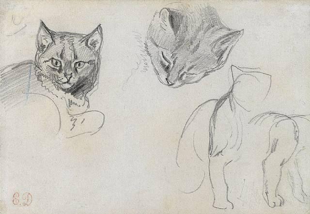 E Delacroix Two Studies of a Cat's Head
