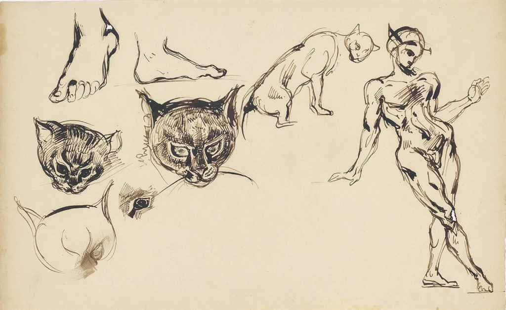 Delacroix Studies of Cats' Heads and a Standing Man