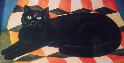 Black Cat, M. Leman, cat paintings