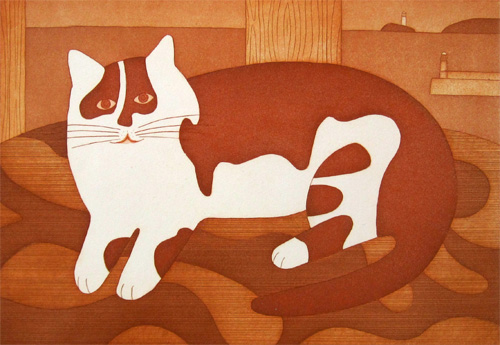 Brown and White Cat II, M. Leman, cat paintings