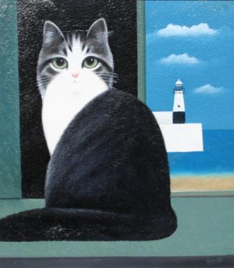 Lighthouse Cat III, Martin Leman, cat art