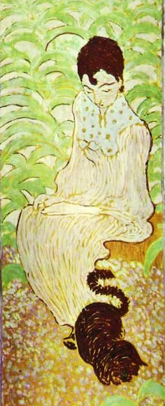 Pierre Bonnard (1867-1947) Sitting Woman with a Cat_ 1892-8