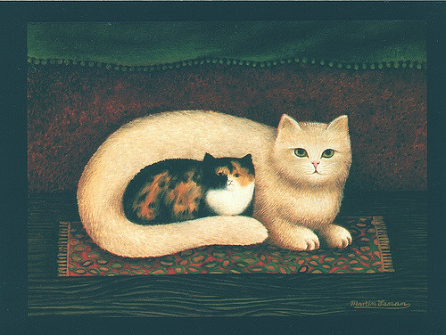 Scruffy and Lily, Martin Leman, cat art, cat paintings