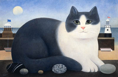 Smeaton's Pier, M. Leman, cat art, cat paintings