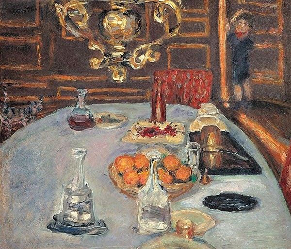 Table Setting under the lampoil painting, c. 1899 Pierre Bonnard