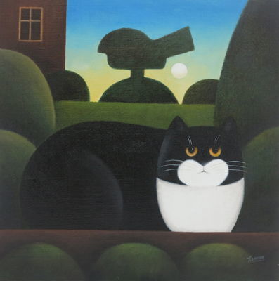 Cat with Bushes M. Leman, cat paintings