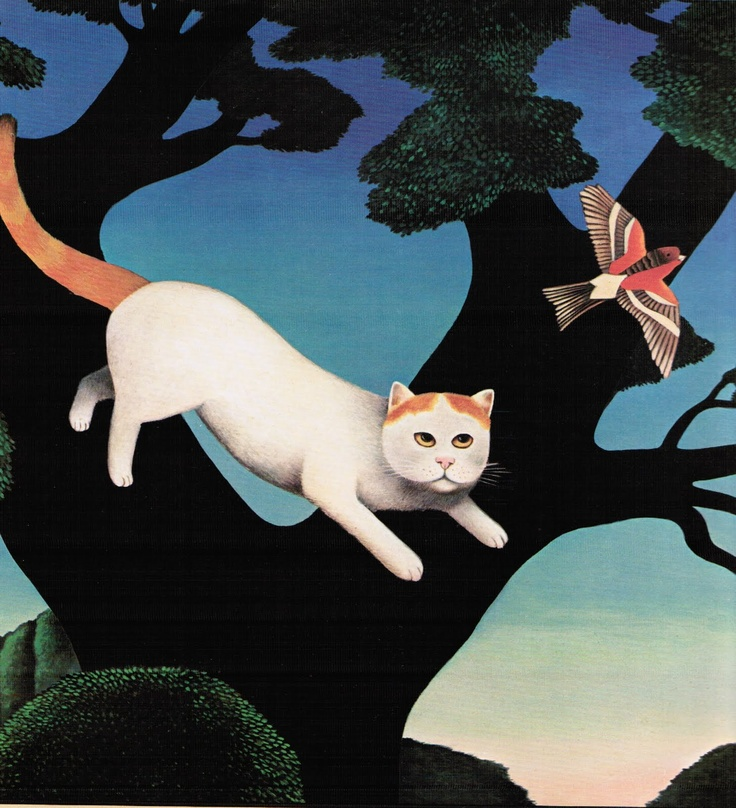 Leaping Cat, M. Leman, illustrations, cat art, art cats