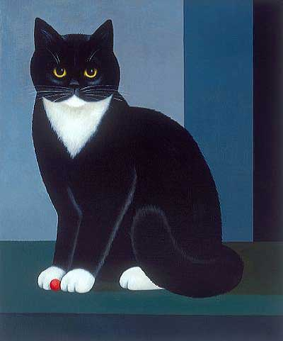 The Red Ball, M. Leman, cat paintings, cat art