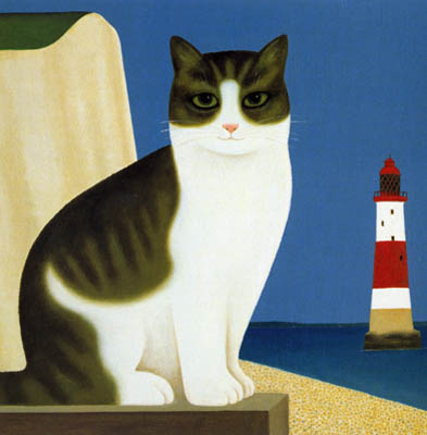 Lighthouse Cat II, M. Leman, cat paintings, cat art