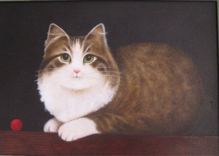 Red Ball, M. Leman, cat art, cat paintings