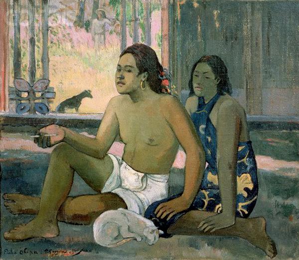 Tahitian Man, Woman and Cat, Paul Gauguin