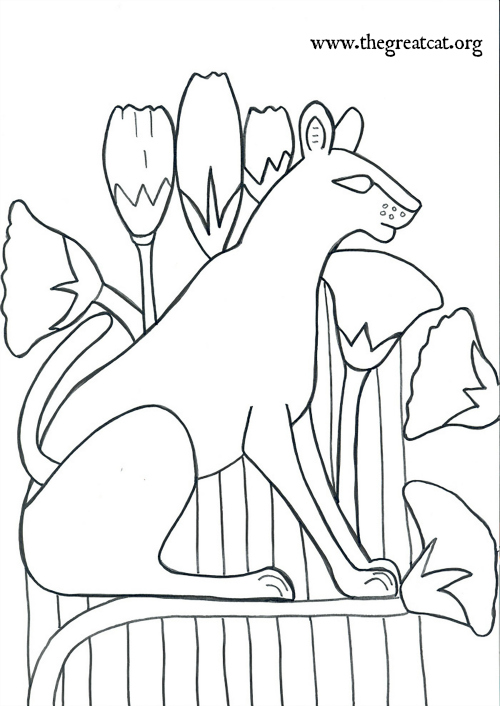 Wild CAt with Lotus flowers, Ancient Egyptian Cats A Coloring book
