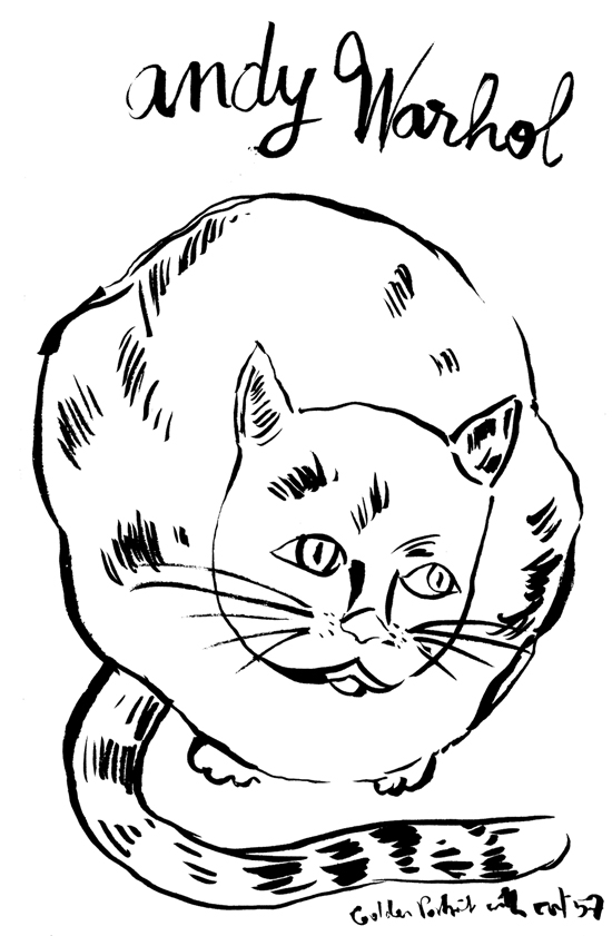 Andy Warhol katze, Sitting Cat Ink on paper