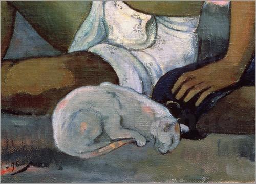 Detail Tahitian Man, Woman and Cat, Paul Gauguin