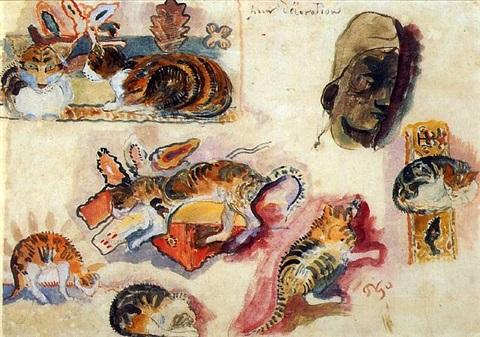 Etude de chats et une tête Study of Cats and a Head, Paul Gauguin