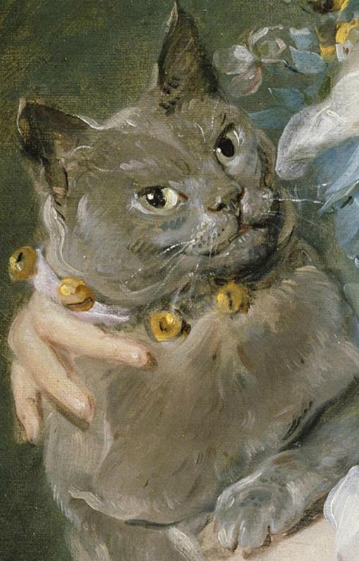 Jean-Baptiste Perronneau, Magdaleine Pinceloup de la Grange, née de Parseval. 1747, detail of cat