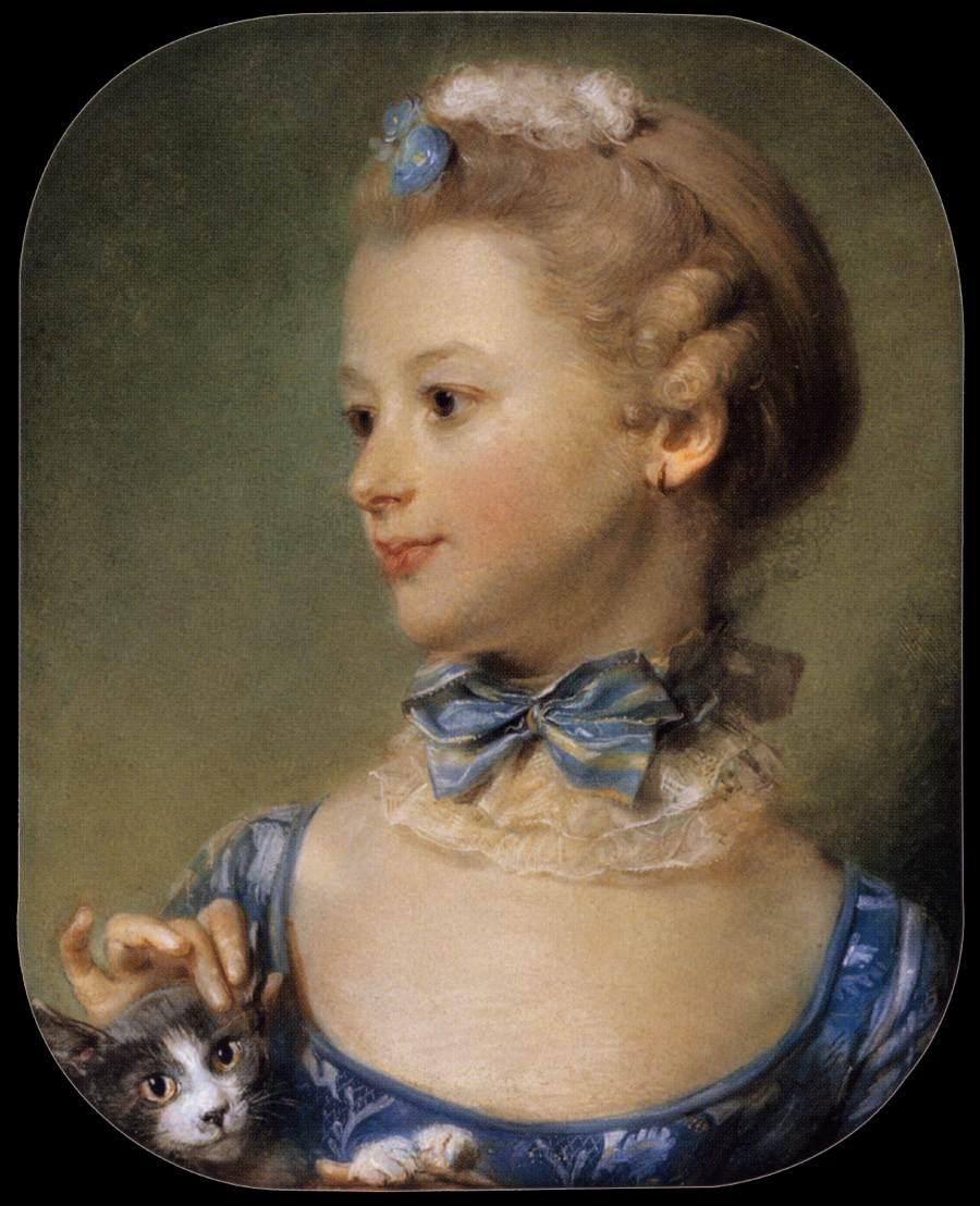 Jean-Baptiste_Perronneau_-_Madmoiselle_Huquier with kitten