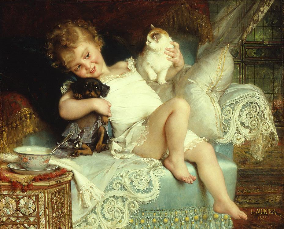 Émile Munier, 1885 Favourite pets Trois amis