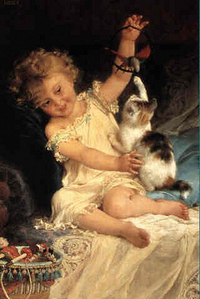 Emile Munier (1840 – 1895, French) Girl Playing with a Kitten